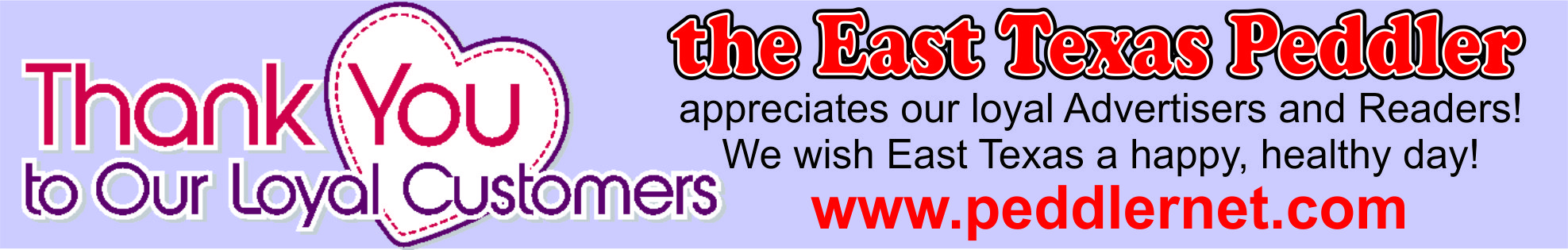 The East Texas Peddler Thank You Banner